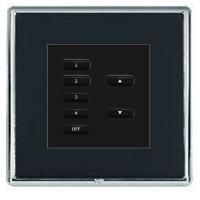 Rako wired lighting frame and insert keypad and linea rondo black frame