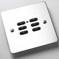 Rako Wireless Blinds RPS06-MSS - 6 Button Keypad - Polished Stainless Steel Flat Metal Plate